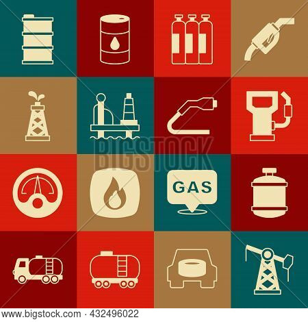 Set Oil Pump Or Pump Jack, Propane Gas Tank, Petrol Station, Industrial Cylinder, Platform The Sea,