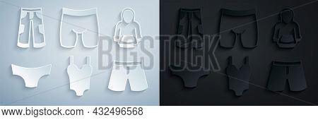 Set Swimsuit, Hoodie, Men Underpants, Short Or, Cycling Shorts And Pants Icon. Vector