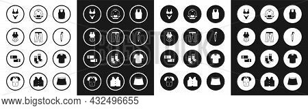 Set Undershirt, Pants, Swimsuit, Umbrella, Hoodie, T-shirt And Winter Scarf Icon. Vector