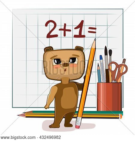 Cute Bear Baby Is Trying To Count. Studying Numbers And Counting. Funny Animal Kid. Stationery And P