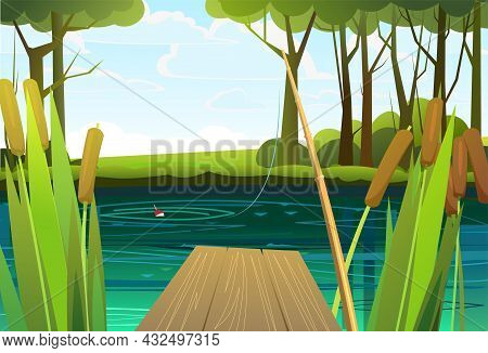 Pier For Fishing On Coast Of River Or Lake. Wild Pond. Summer Landscape. Clear Skies And Good Weathe