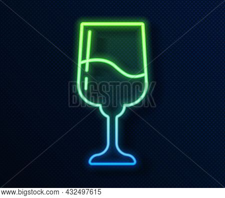Glowing Neon Line Jewish Goblet Icon Isolated On Blue Background. Jewish Wine Cup For Kiddush. Kiddu