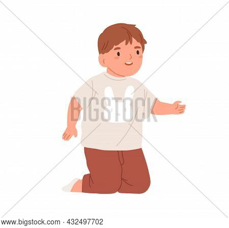Toddler On Knees, Start Walking, Trying To Stand Up. Happy Baby. Cute Little Child. Adorable Smiling