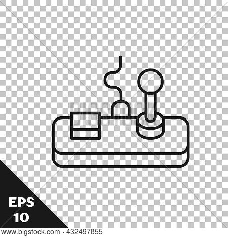 Black Line Gamepad Icon Isolated On Transparent Background. Game Controller. Vector