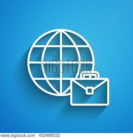 White Line Online Working Icon Isolated On Blue Background. Freelancer Man Working On Laptop At His