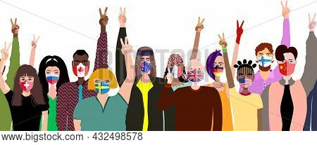People In Medical Masks From Different Countries Show The Sign Of Peace. Peace Day.