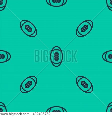 Blue Line American Football Ball Icon Isolated Seamless Pattern On Green Background. Rugby Ball Icon