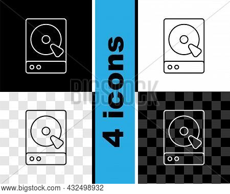 Set Line Hard Disk Drive Hdd Icon Isolated On Black And White, Transparent Background. Vector