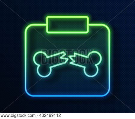 Glowing Neon Line X-ray Shots With Broken Bone Icon Isolated On Blue Background. Vector