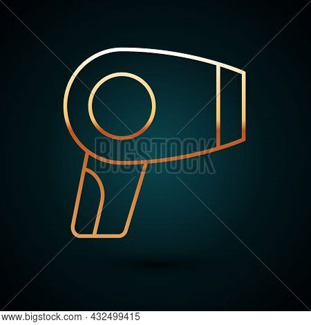 Gold Line Hair Dryer Icon Isolated On Dark Blue Background. Hairdryer Sign. Hair Drying Symbol. Blow