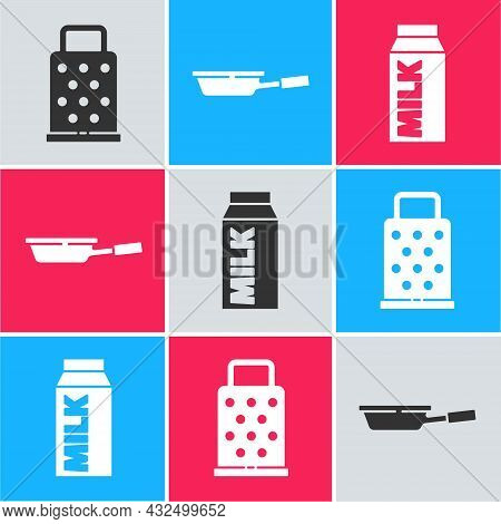 Set Grater, Frying Pan And Paper Package For Milk Icon. Vector