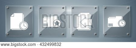 Set Document Folder With Clock, Next Page Arrow, Document Folder With Star And Document With Clock.