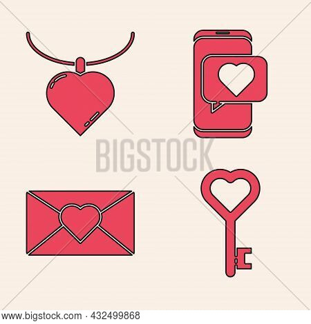 Set Key In Heart Shape, Necklace With Heart Shaped Pendant, Online Dating App And Chat And Envelope