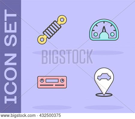 Set Location With Car Service, Shock Absorber, Car Audio And Speedometer Icon. Vector