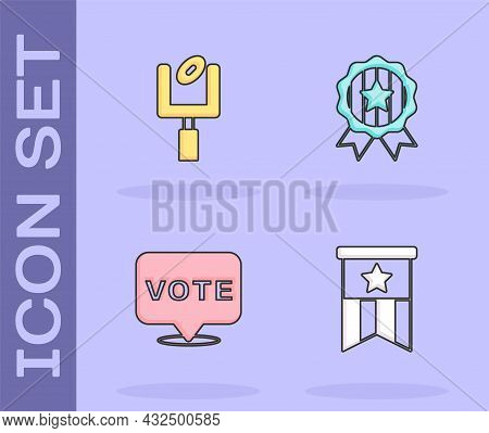 Set American Flag, Football Goal Post, Vote And Medal With Star Icon. Vector