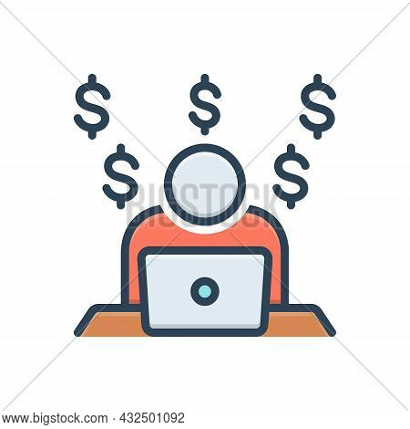 Color Illustration Icon For Making-money Laptop Currency Money Making Work Person Man-hour Facilitat