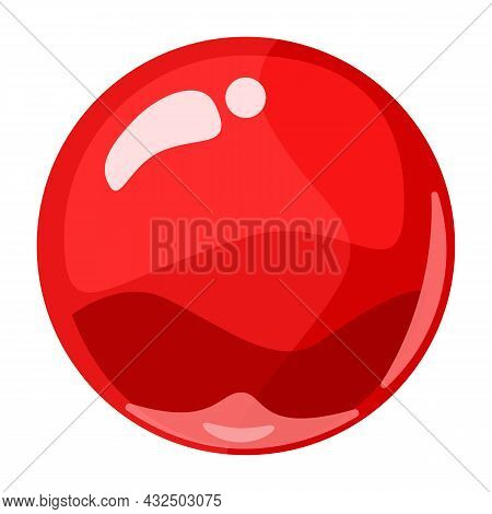 Ball Red Shiny Glossy Colorful Game Art. Magic Crystal Glass Sphere, Bubble Shot Elements. Cartoon V