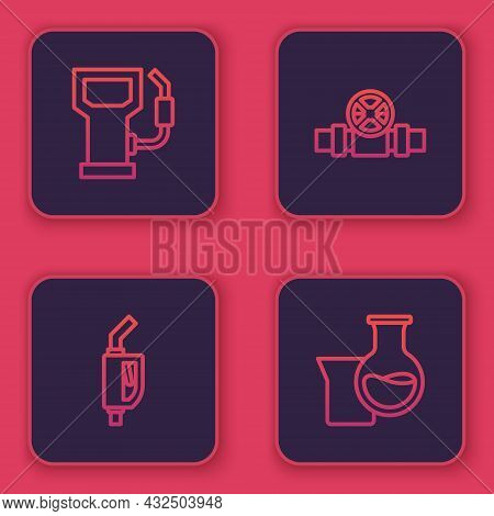 Set Line Petrol Or Gas Station, Gasoline Pump Nozzle, Metallic Pipes And Valve And Oil Petrol Test T