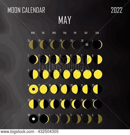 May 2022 Moon Calendar. Astrological Calendar Design. Planner. Place For Stickers. Month Cycle Plann