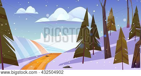 Winter Landscape With Snow Lying On Field And Road Going Along Fir-trees Under Cloudy Sky With Falli