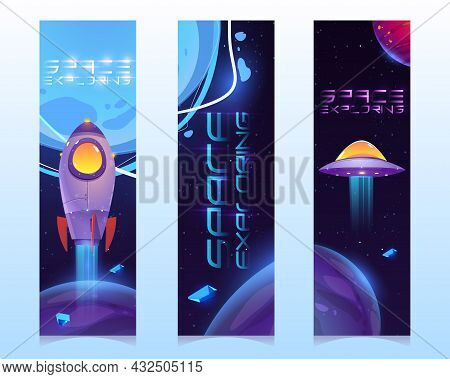 Space Exploring Cartoon Vertical Banners, Alien Ufo Saucer, Astronaut Rocket Or Shuttle, Planets And