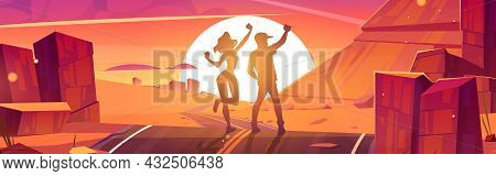 Tourists Enjoy Sunset, Happy Man And Woman Silhouettes On Scenery Rocky Desert Landscape Rejoice On