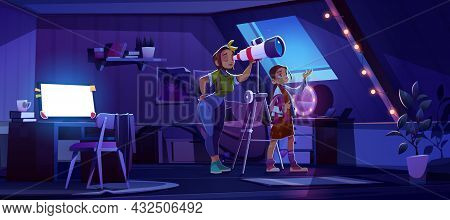 Mother And Daughter Look In Telescope From Attic Room, Young Girl With Mom Explore Moon And Stars On