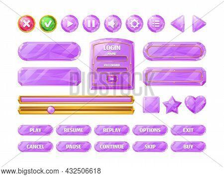 Diamond Game Ui Buttons, Pink Crystal Progress Bar, Cartoon Menu Interface Gui Elements. User Settin