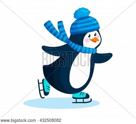 Penguin In A Hat And Scarf Skates On Ice. Cute Penguin Skater Is Isolated On White Background. Child
