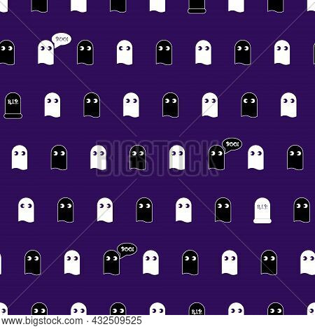 The Print With Ghosts And The Inscription Boo Is Seamless. Vector Pattern For Holiday Day Of The Dea