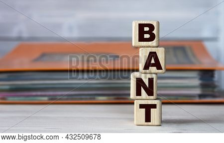 Bant (budget, Authority, Needs, And Timeline) - Word On Wooden Cubes On The Background Of A Folder W