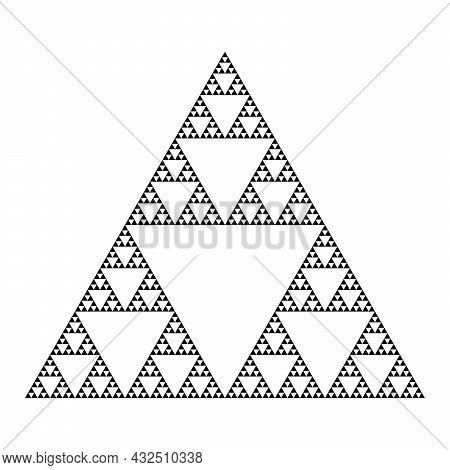Detailed Sierpinski Triangle Construction. Mathematical Geometric Endless Fractal Triangle. Pyramid