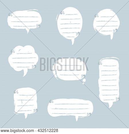 Collection Set Of Blank Speech Bubble Balloon, Think, Speak, Talk, Text Box, Banner, Flat, Design, V