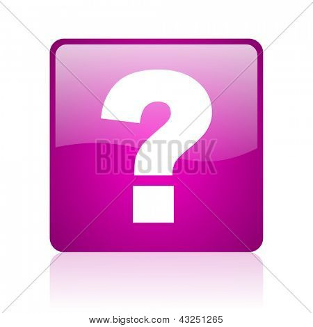 question mark violet square web glossy icon