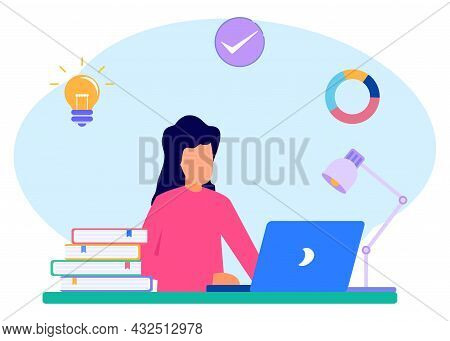 Flat Style Vector Illustration. Girls Keep A Journal Or Diary. Teenage Girls Study At Home With Thei
