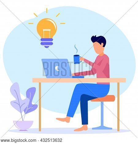 Vector Illustration Of A Business Concept. Successful Freelance Worker In His Home Office With A Lap
