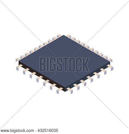 Isometric Icon With Microprocessor On White Background Vector Illustration