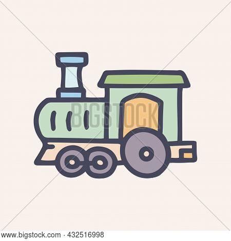 Toy Locomotive Color Vector Doodle Simple Icon