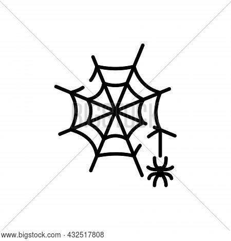 Fear Black Spiderweb Line Icon. Spooky Spider Web Halloween Decoration Linear Pictogram. Cobweb Trap