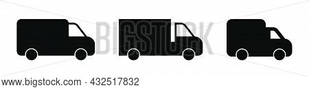 Delivery Lorry. Shipping Van Icons Set. Courier Transport. Lorry Icons Set. Delivery Symbol In Glyph