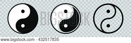 Ying And Yang Symbol. Harmony Icons Set. Yin Yang In Circle. Balance Symbol In Black And White