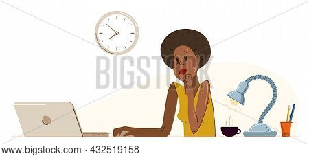 African Ethnicity Girl Office Worker Pensive Concentrated On Her Work Vector Flat Illustration Isola