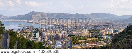 Panoramic View At Palermo While Sunset, Italy