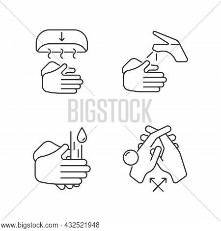 Proper Handwashing Linear Icons Set. Hand-drying Method. Wetting Hands With Water. Rub Palms Togethe