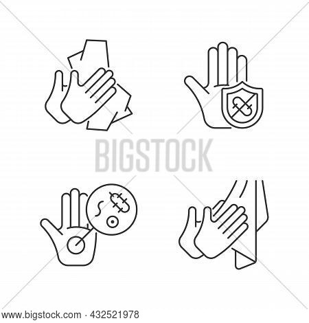 Infection Prevention Linear Icons Set. Wiping Off Dirt, Germs. Dry Hands With Towel. Microbes Protec