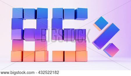 Colorful Boxes Forming The Number Eighty-five Isolated On White Background, 3d Render