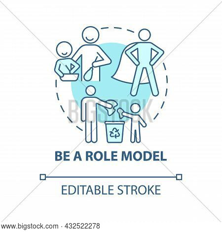 Role Model Blue Concept Icon. Parent Is Example For Kid Abstract Idea Thin Line Illustration. Parent