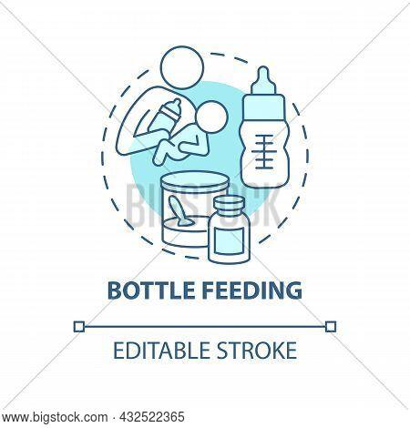 Bottle Feeding Blue Concept Icon. Feed Baby With Formula Abstract Idea Thin Line Illustration. Feedi