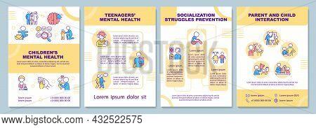 Children Mental Health Brochure Template. Child Socialization. Flyer, Booklet, Leaflet Print, Cover