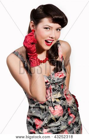 Pin-up Girl With Red Gloves